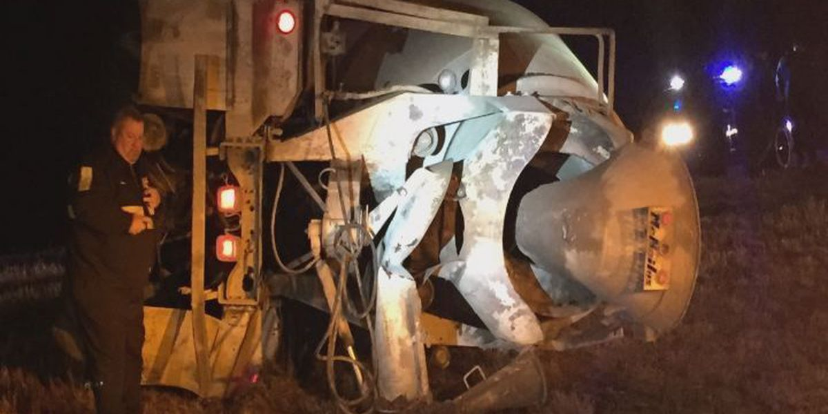 Cement truck overturns in Dougherty County