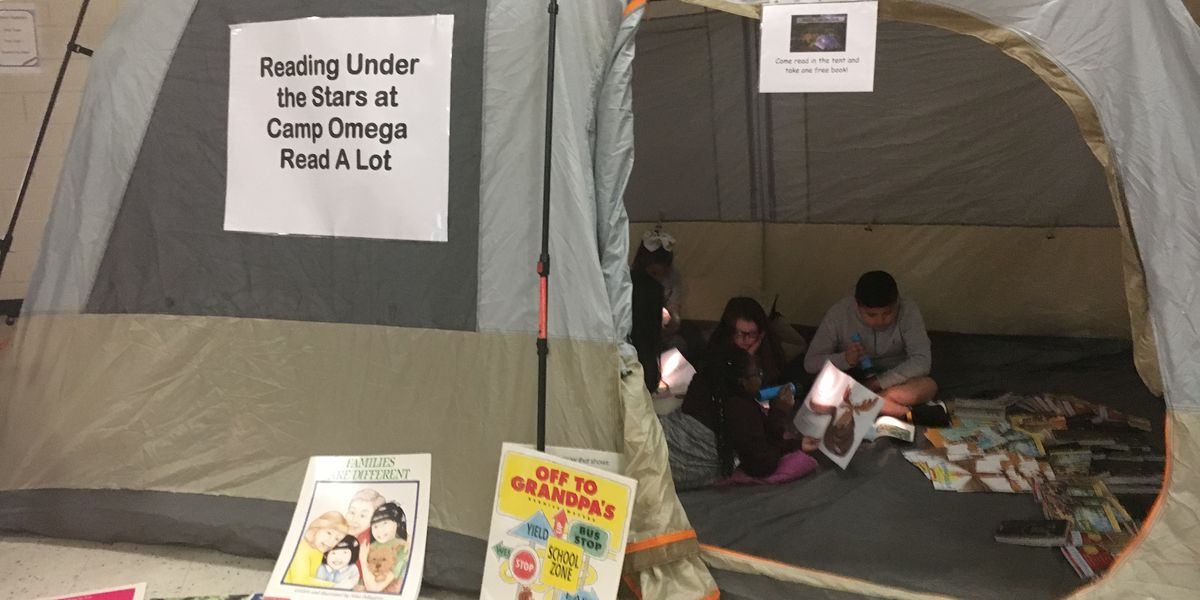 Omega students camp out for literacy
