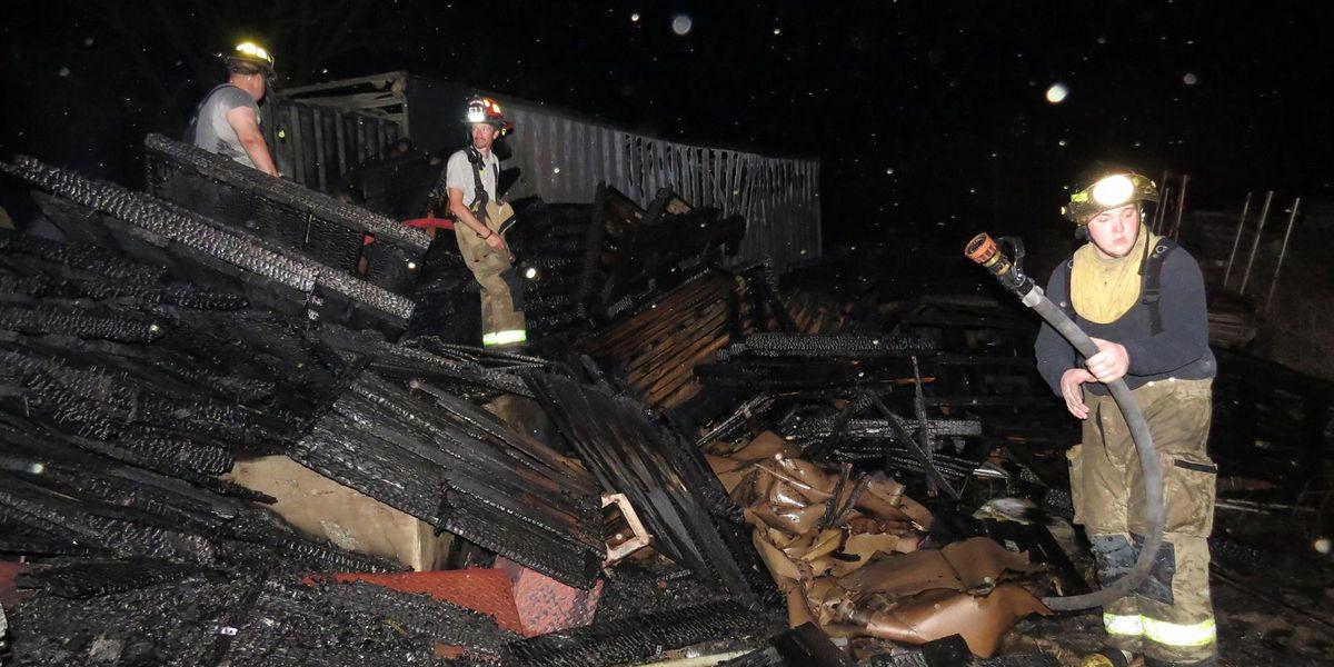 Coffee Co. pallets, semi truck burn, warehouse saved