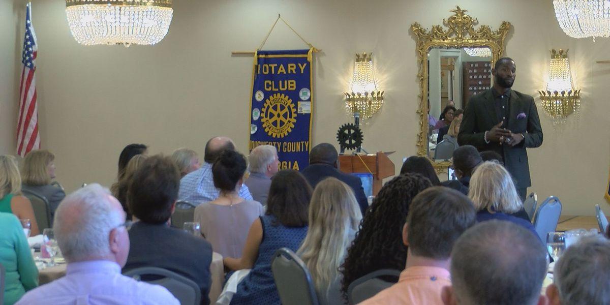 Ricardo Lockette speaks at Rotary Club