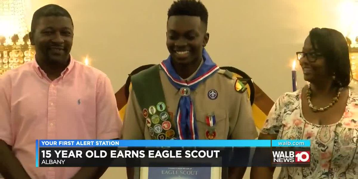 15 year old Boy scout receives Eagle Scout