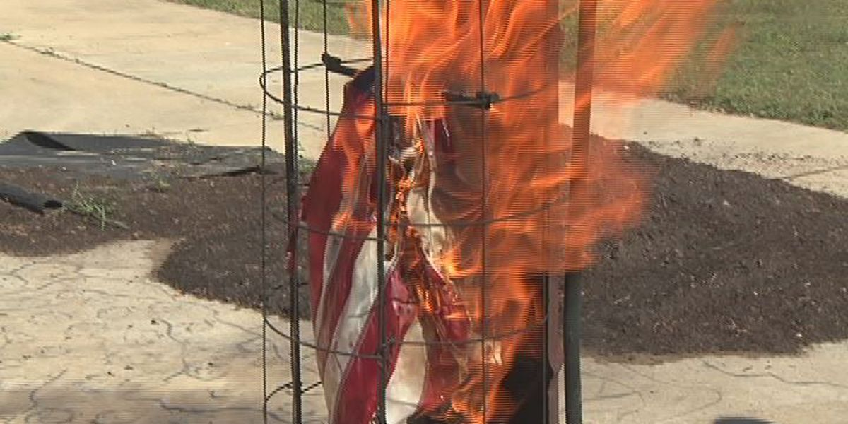 Flag goes up in flames in ceremony