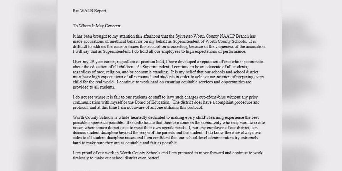 Worth Co. Superintendent responds to NAACP call for resignation