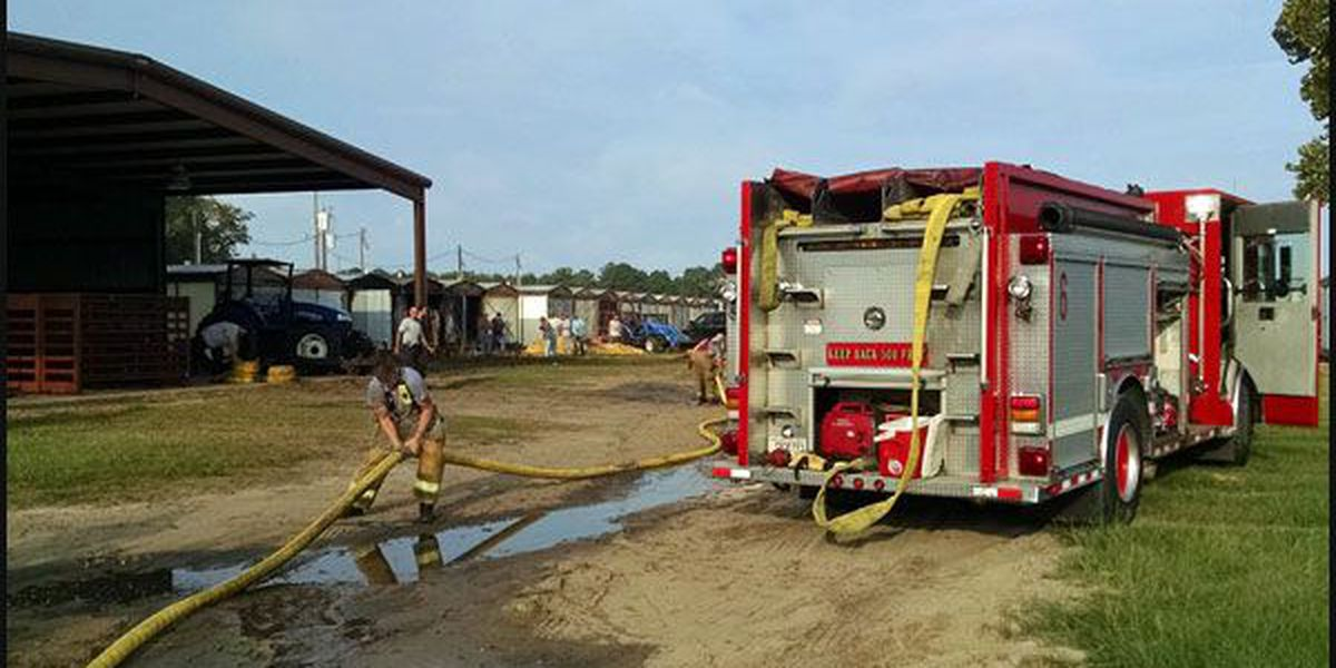 Small tobacco sheds catch fire