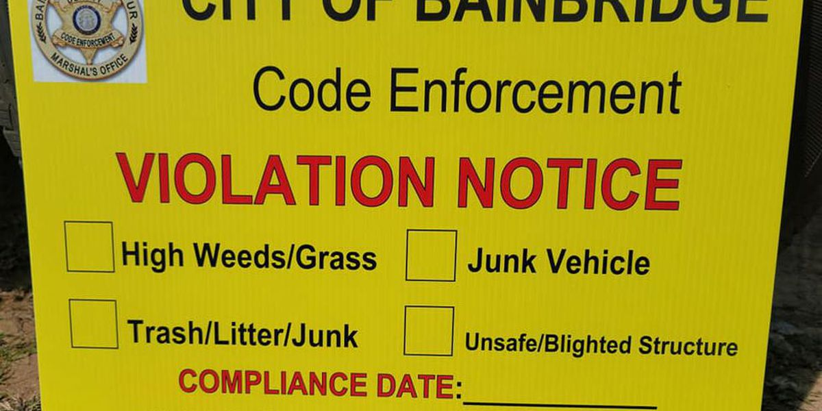 Bainbridge-Decatur Marshals Office posting signs where property violations occur in city