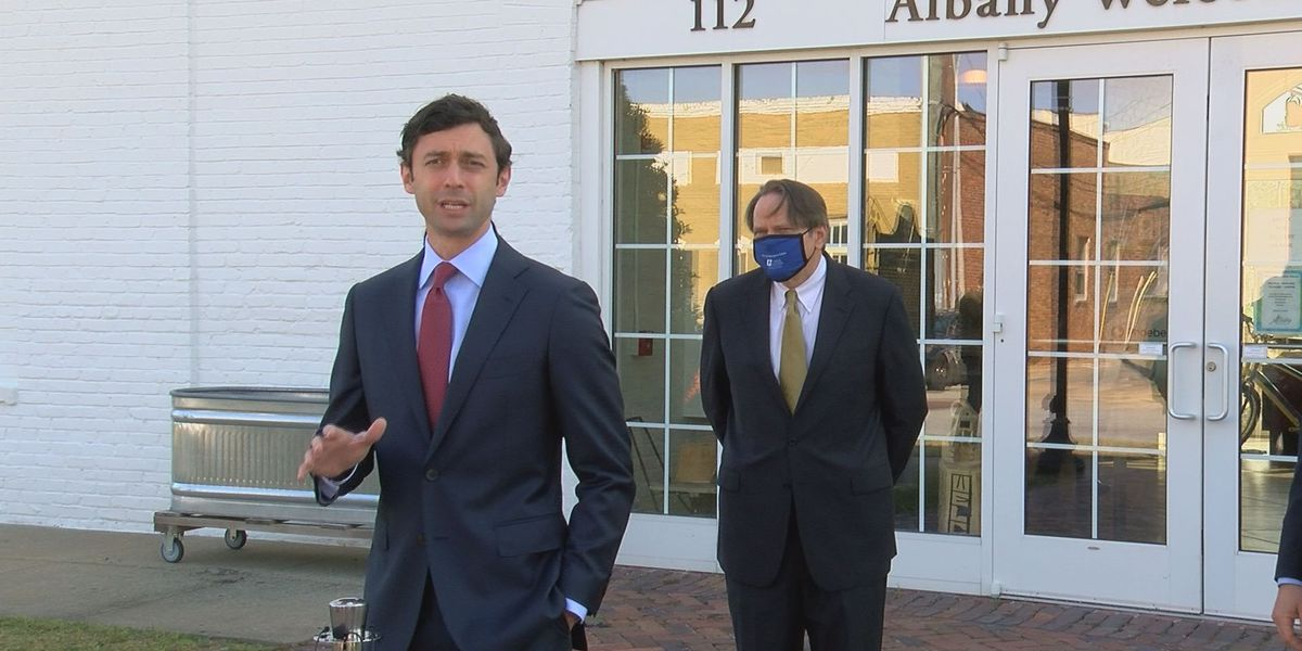 'Help is here': Ossoff stops in Albany to talk economic relief amid COVID-19 pandemic