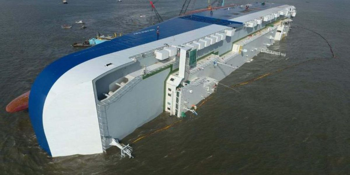 Overturned cargo ship to be disassembled in St. Simons Sound