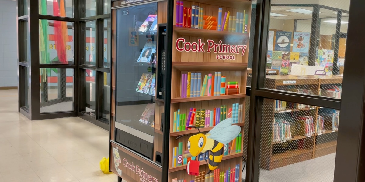 Cook Primary School unveils book vending machine for students