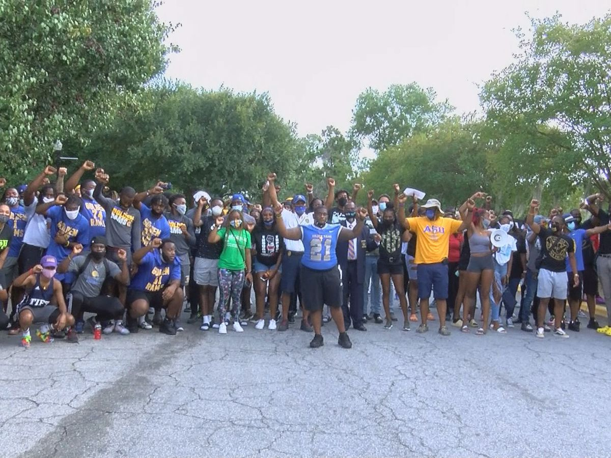Albany State Golden Rams football leads march for racial equality