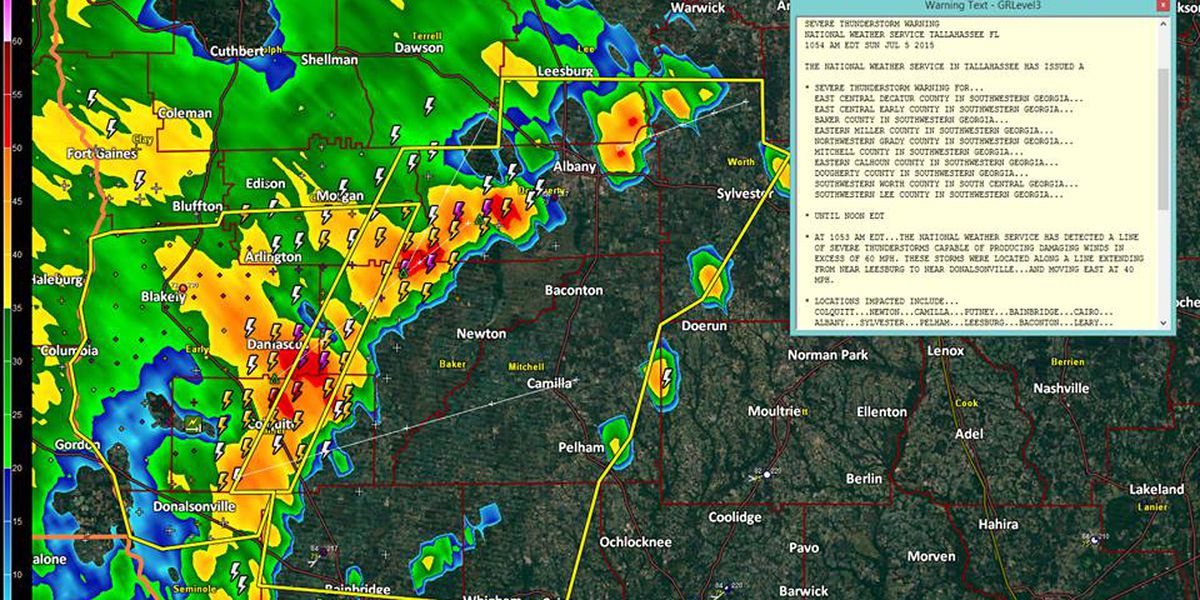 Severe Thunderstorm Warning in effect for several South Ga. counties