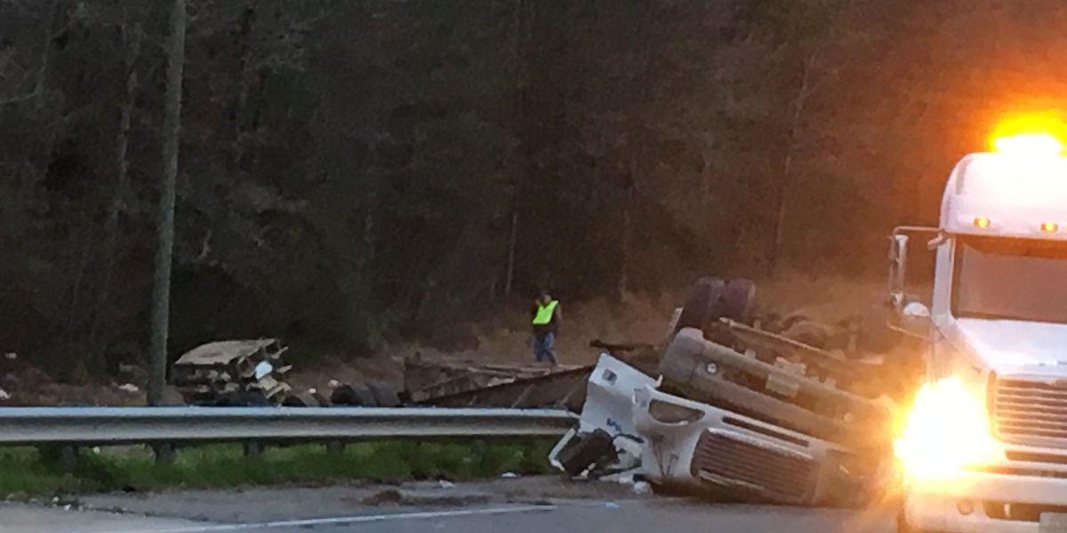 Chicken truck overturns in Atkinson County