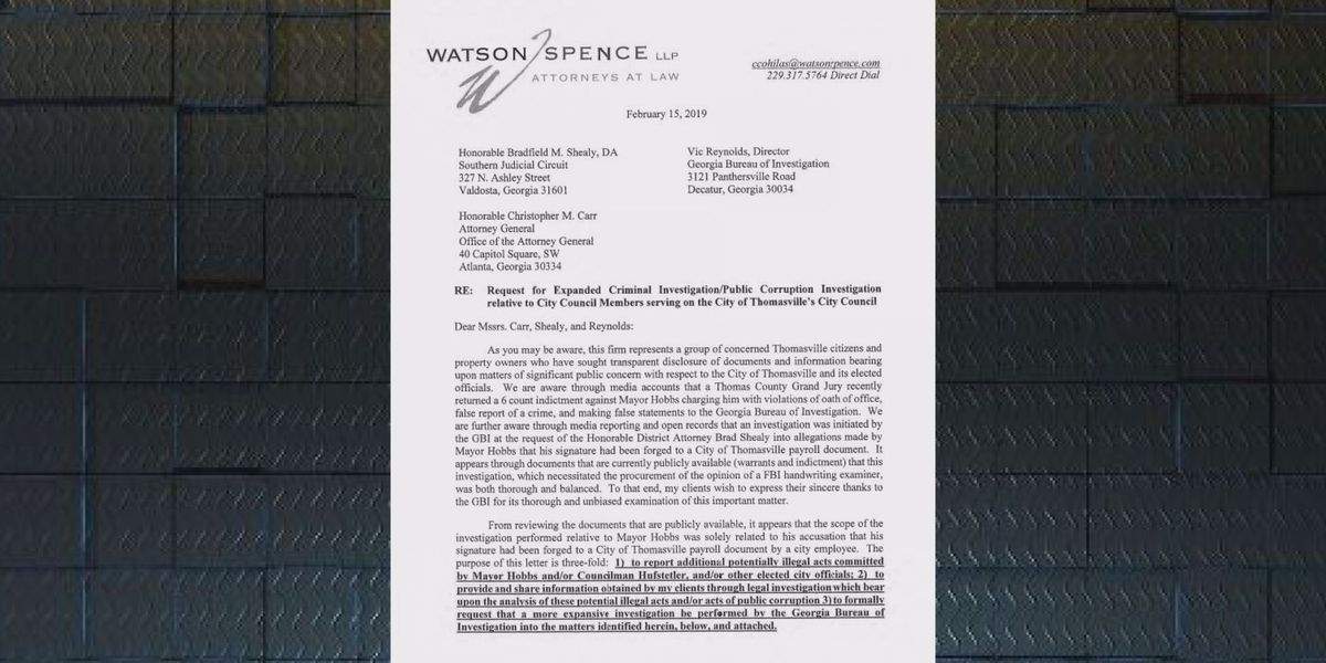 Attorney requests investigation be launched into select City of Thomasville officials