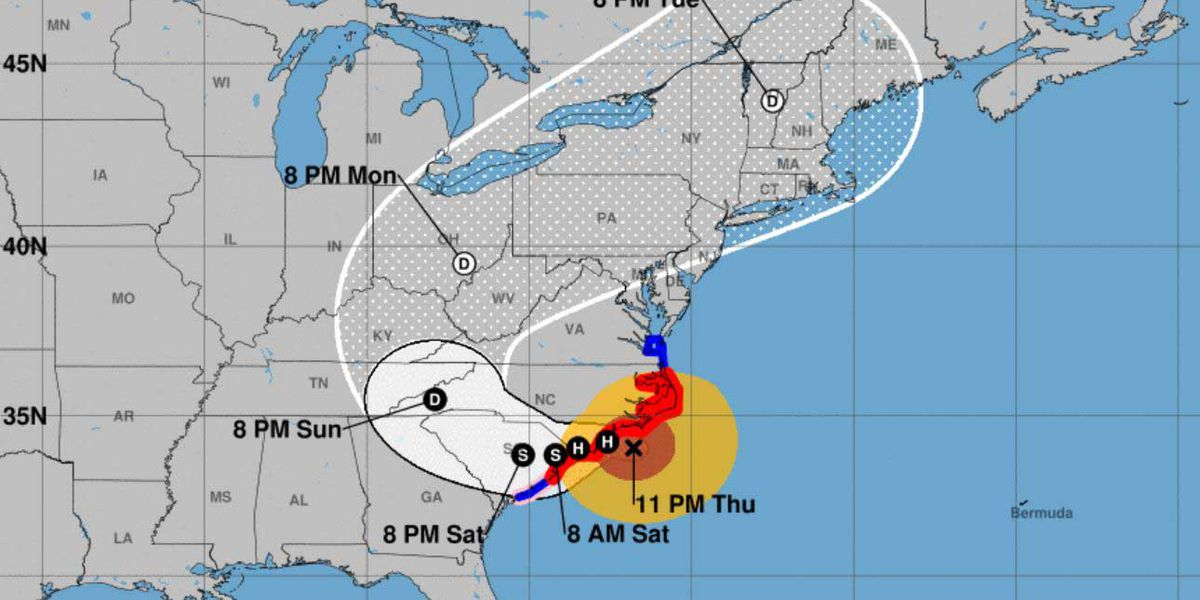 Hurricane Florence becomes Category 1; outer bands lash coast, catastrophic flooding expected