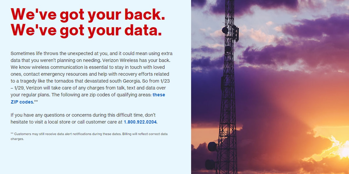 Verizon and AT&T announce overage protection to storm affected areas