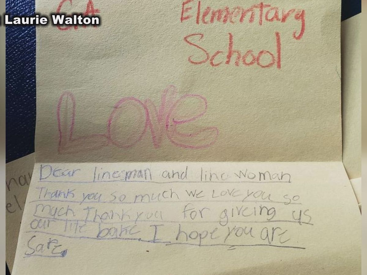 Elementary students write letters to linemen after hurricane
