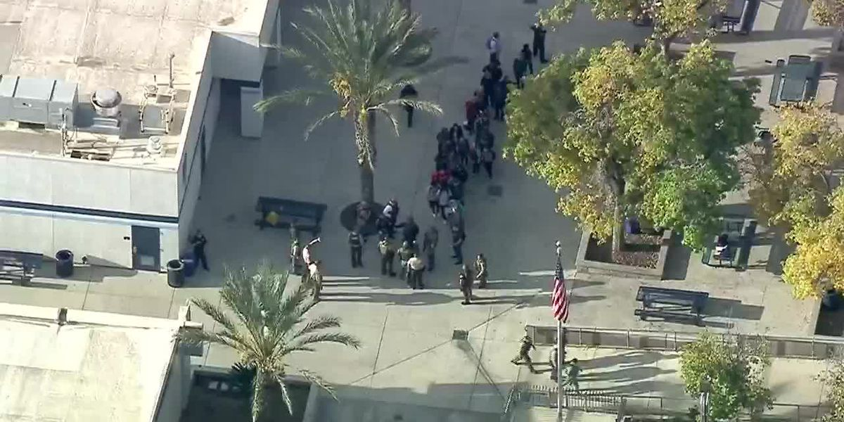 Aerial: Several injured in high school shooting in Calif. (no sound)