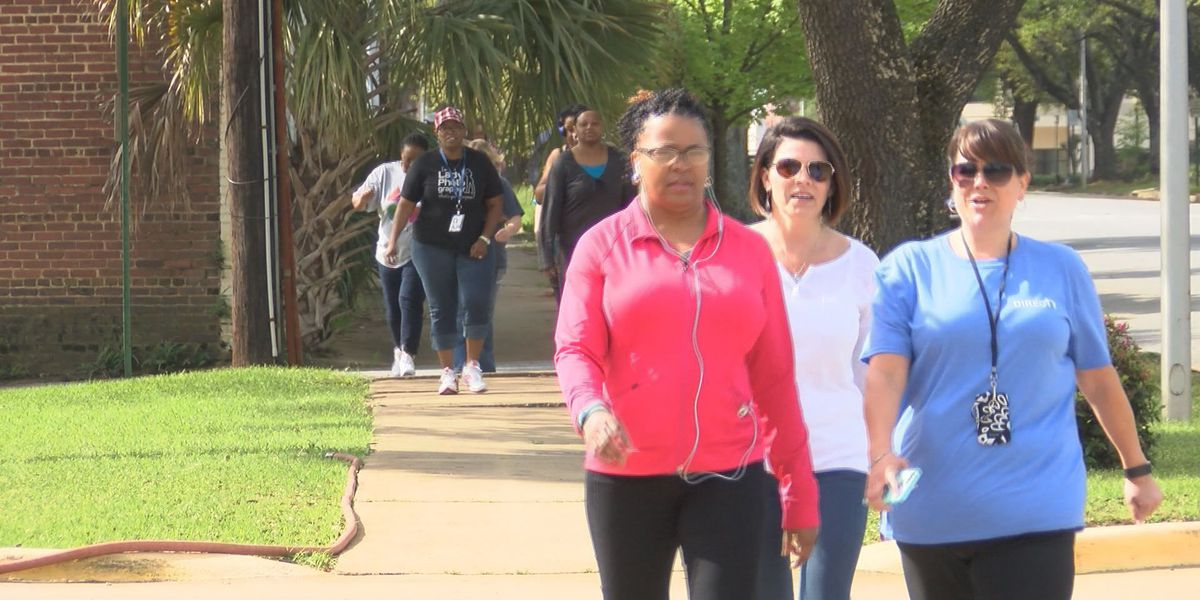 A.T.&T. workers walk for their health