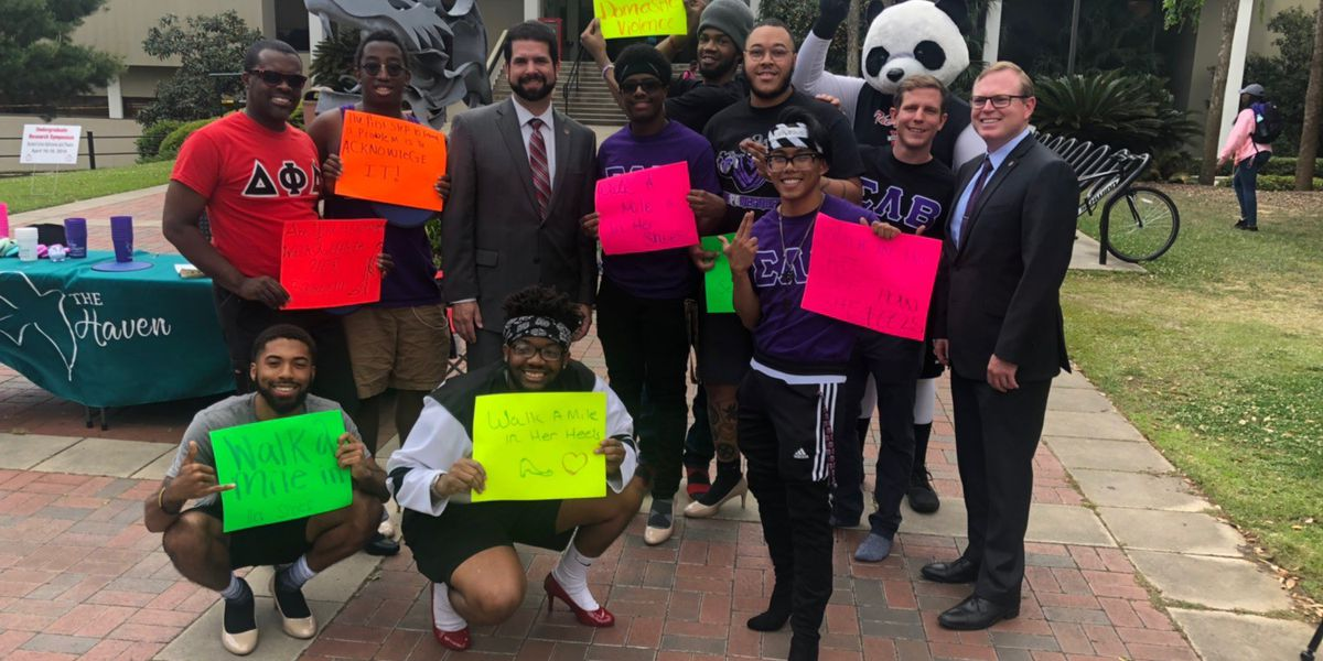 Students 'Walk a Mile in Her Shoes' at Valdosta State University