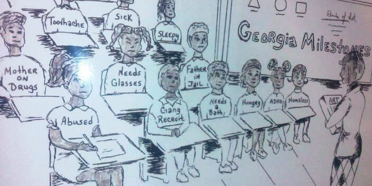 Principal suspended for 'gang recruits' student cartoon