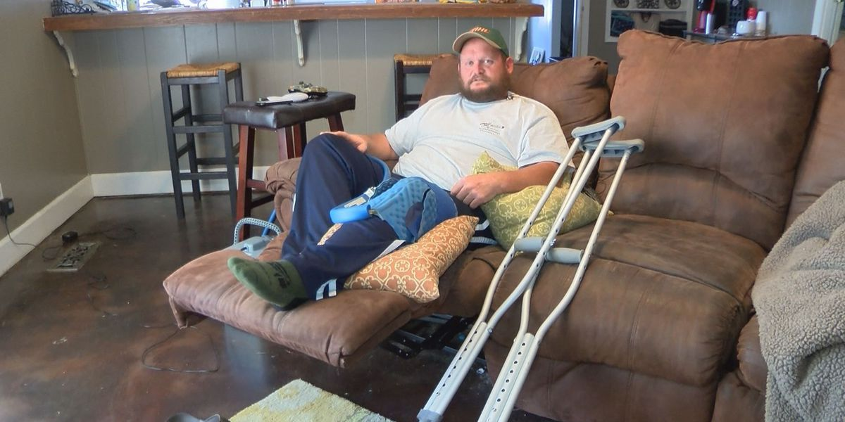 Albany man forced to trade chainsaw for crutches