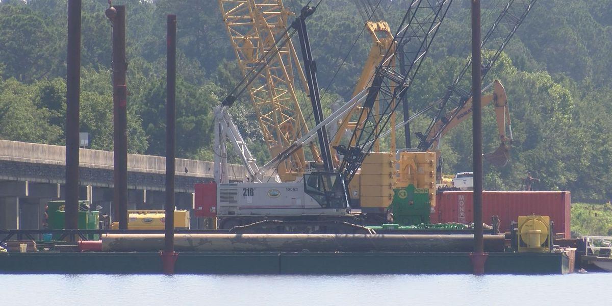 Construction crews work to build new bridge over Lake Blackshear
