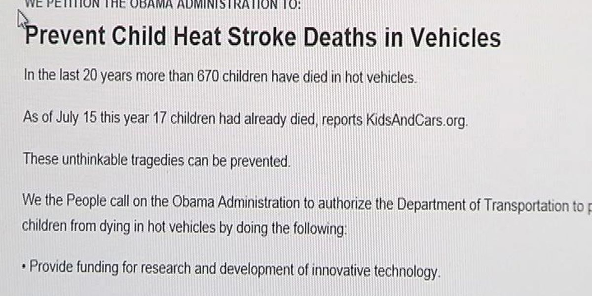 Parents support petition to prevent hot car deaths