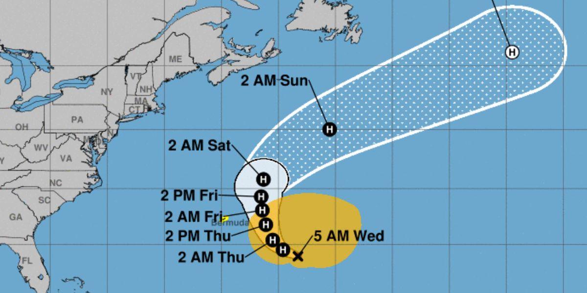 Hurricane Epsilon, the 10th of a busy season, nears Bermuda