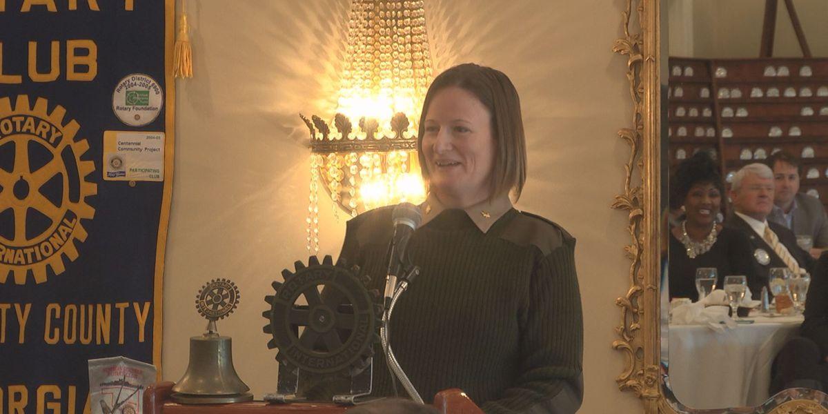 Major Petra Seipel speaks at the Rotary Club