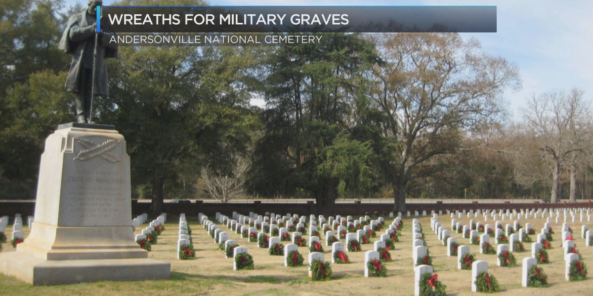 Wreaths left on graves at Andersonville National Cemetery