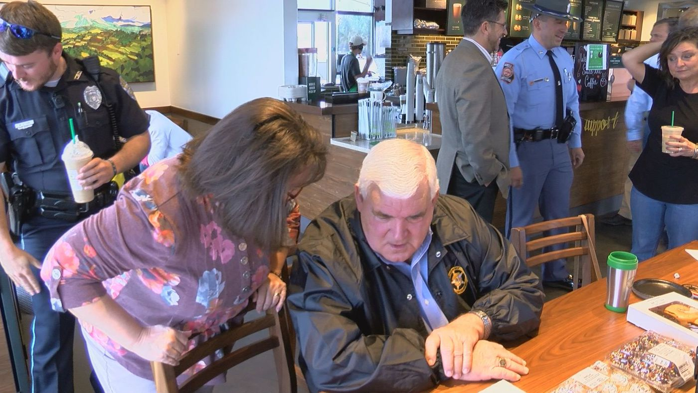 """The Tift County Sheriff's Office, Tifton Police Department and Georgia State Patrol met with Tift County residents at Starbucks for """"Coffee with a Cop."""""""