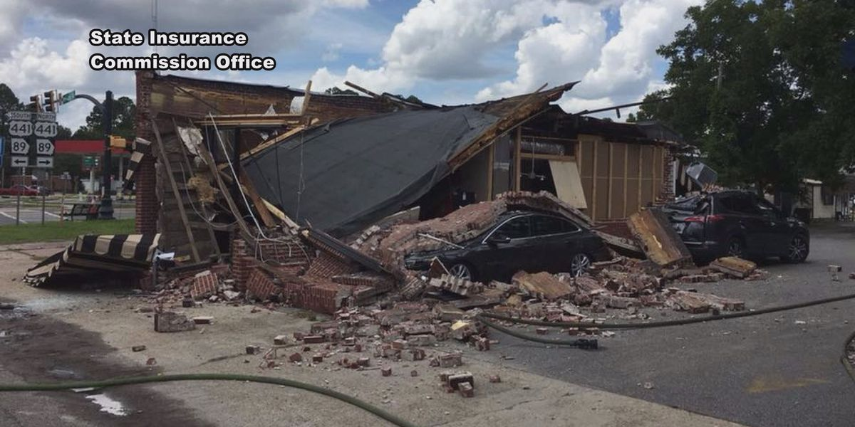 Photo: Georgia State Insurance Commission Office, of aftermath of Homerville Coffeeshop explosion