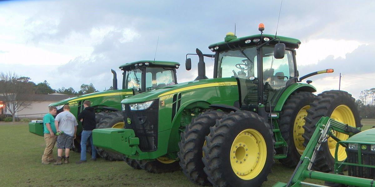 Worth Co. High School students drive tractors to school