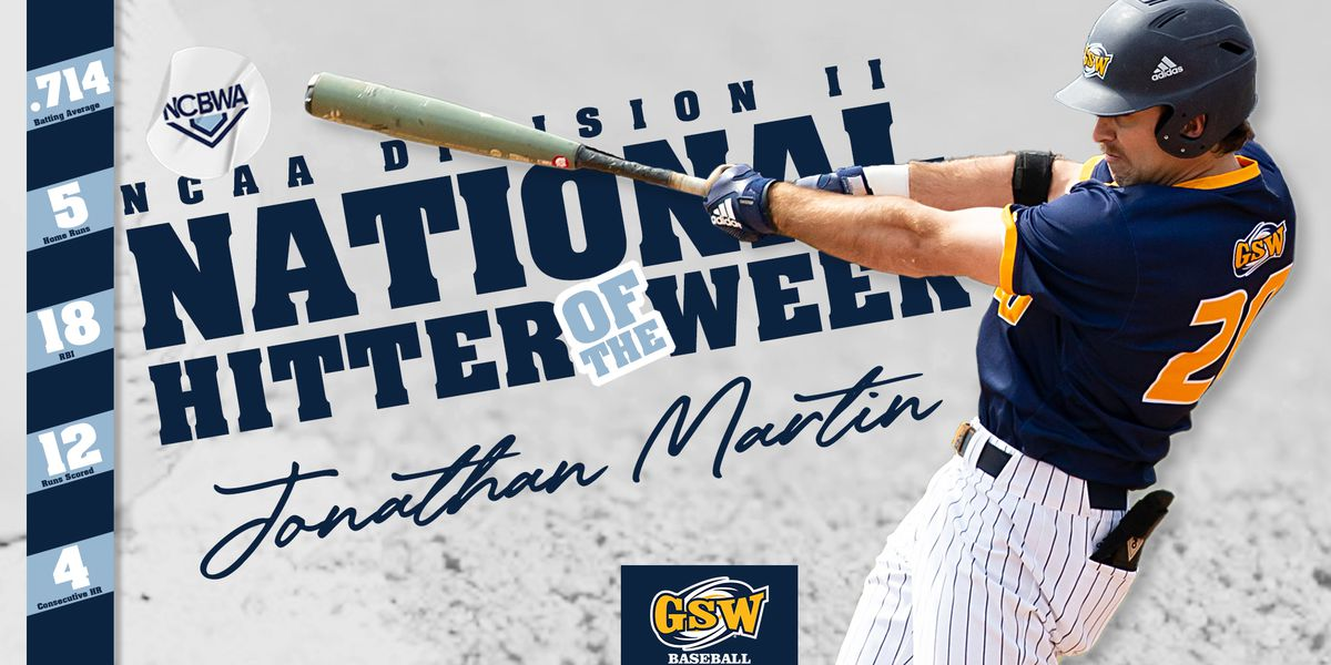 Jonathan Martin Earns NCAA D2 National Hitter of the Week Honors