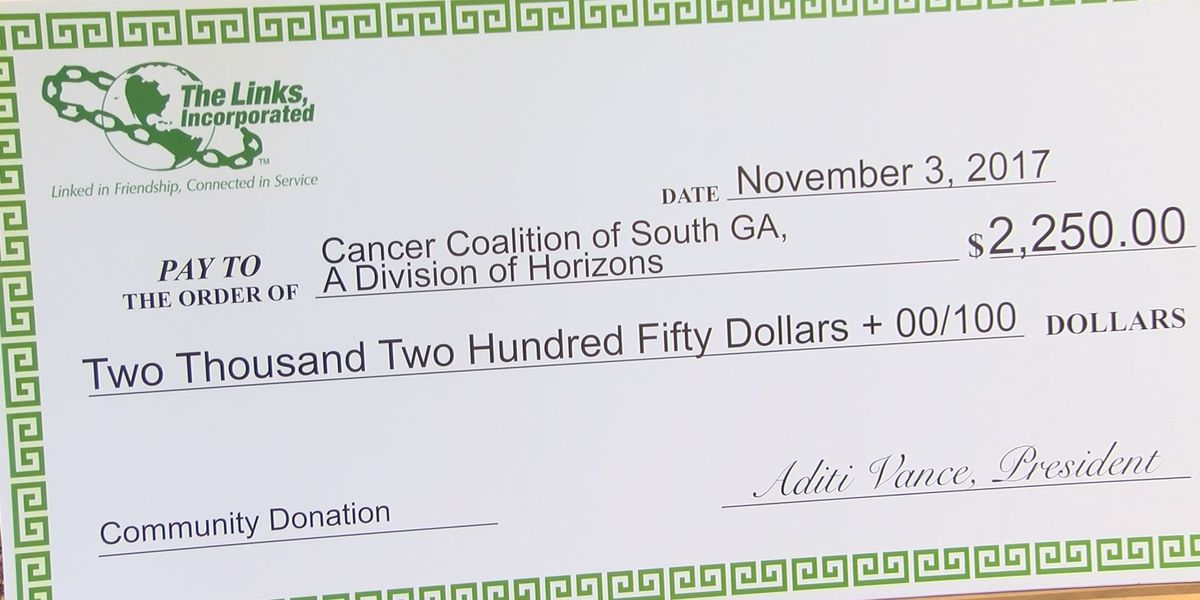 Albany Chapter of Links Inc. makes donation to SWGA Cancer Coalition