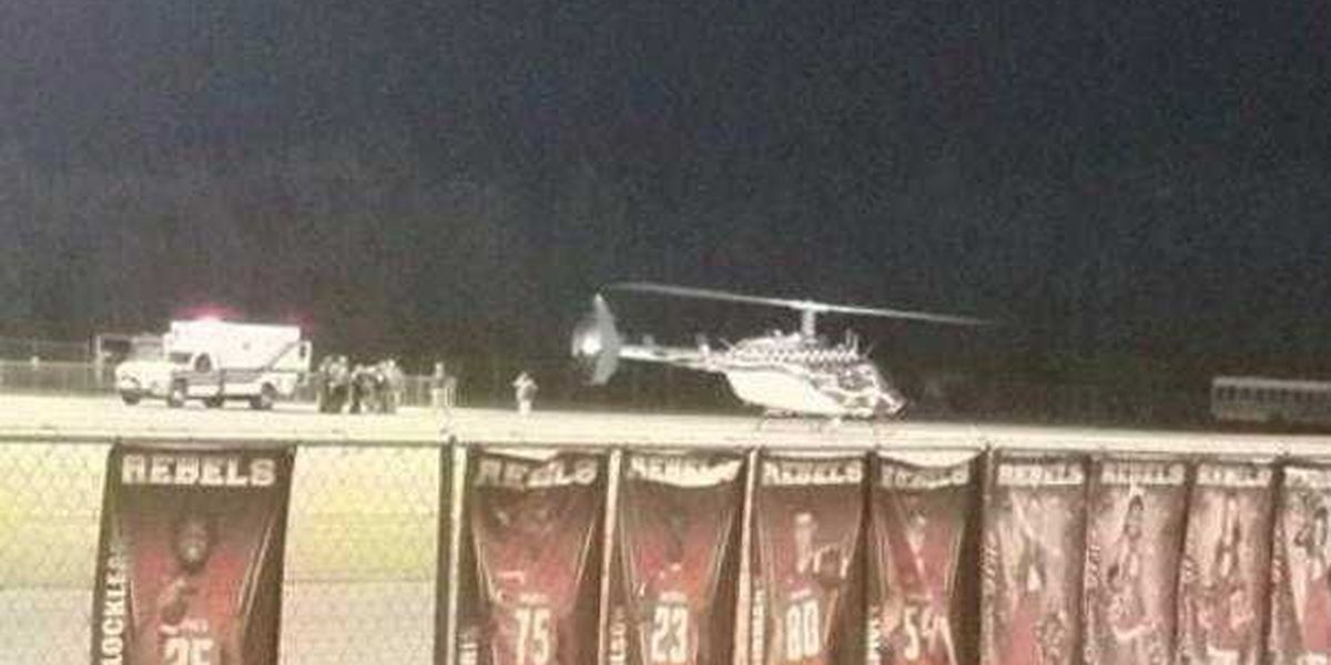 High school football player transported by helicopter due to injury