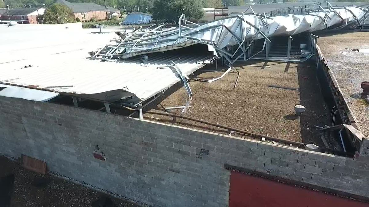 Drone footage of construction at Albany Technical College after Hurricane Michael