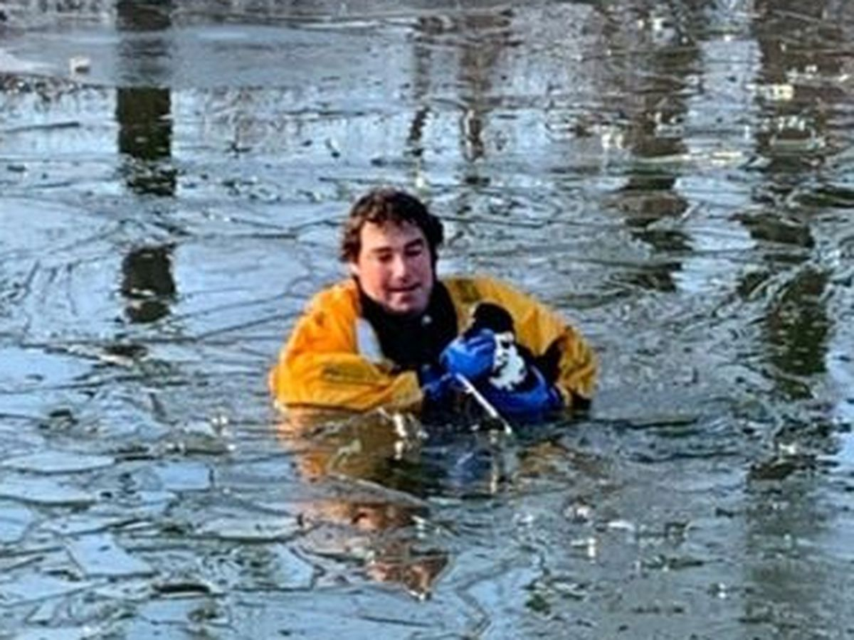 Firefighters rescue duck frozen in Iowa lake