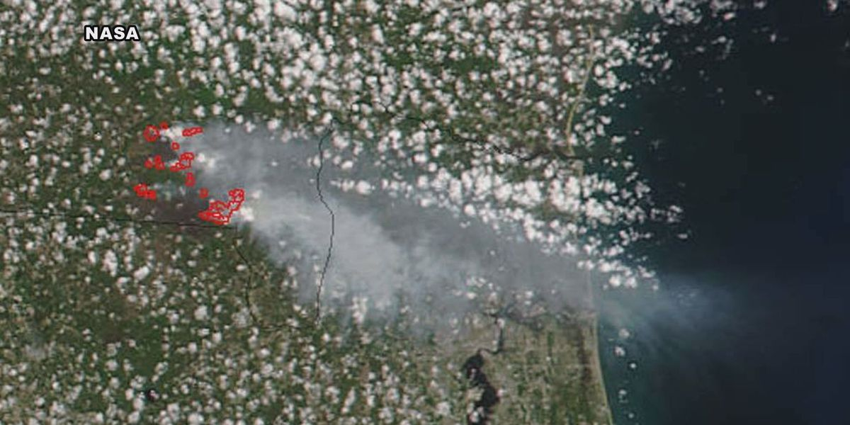 West Mims Fire visible from space