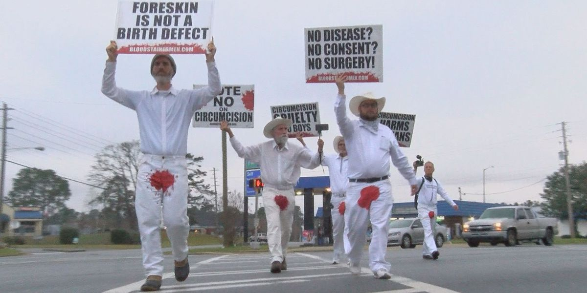 Men in bloodstained pants protest circumcisions
