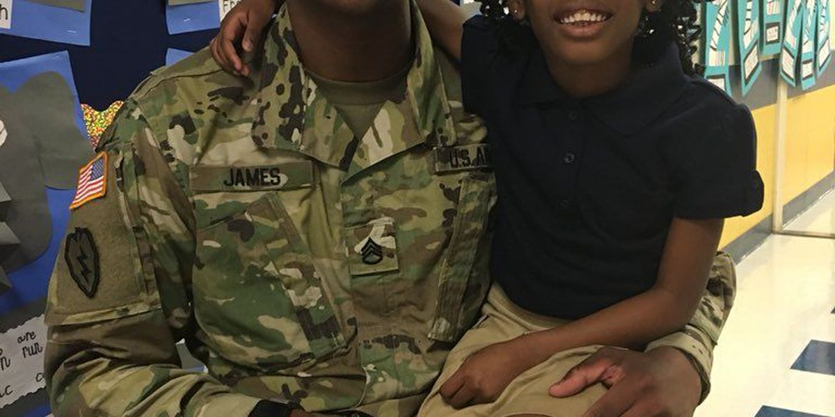 VIDEO: Elementary school student surprised by Army dad
