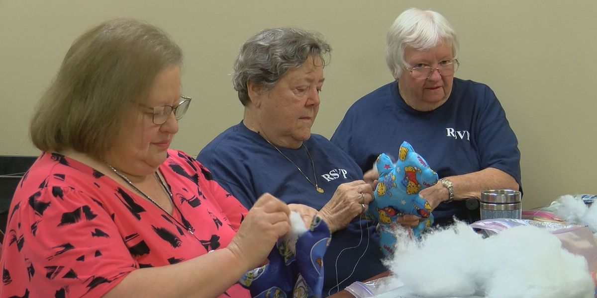 Volunteers sew teddy bears for smiles