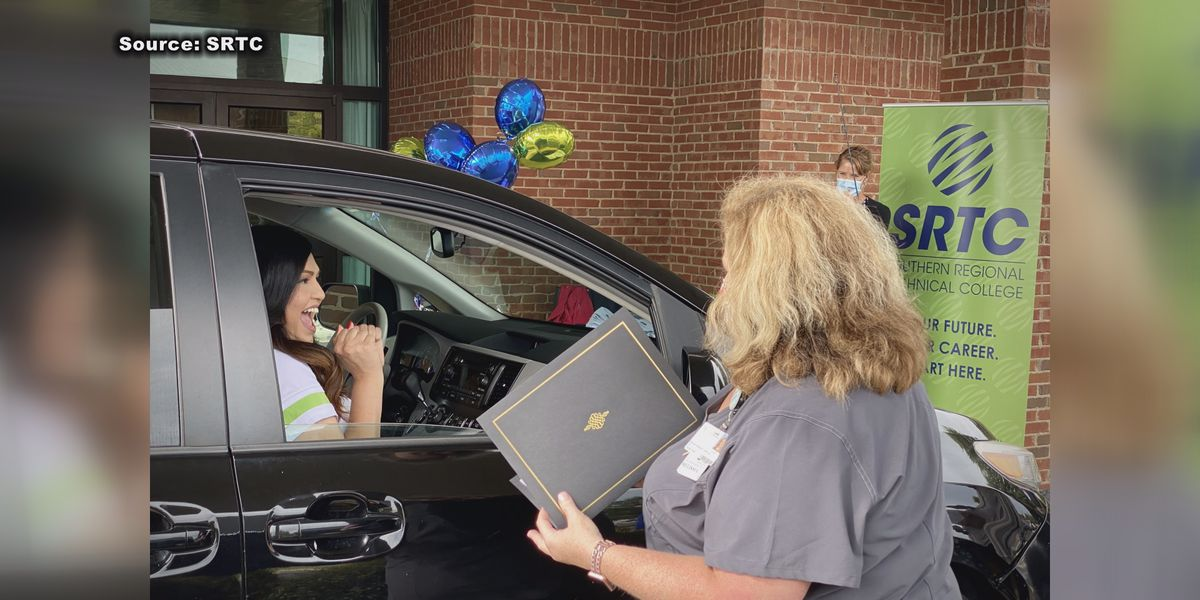 Southern Regional Tech hosts drive-thru pinning ceremony
