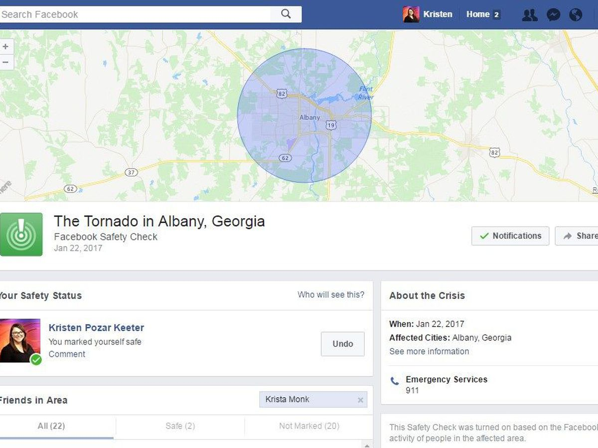Facebook activates Safety Check for Albany after storms