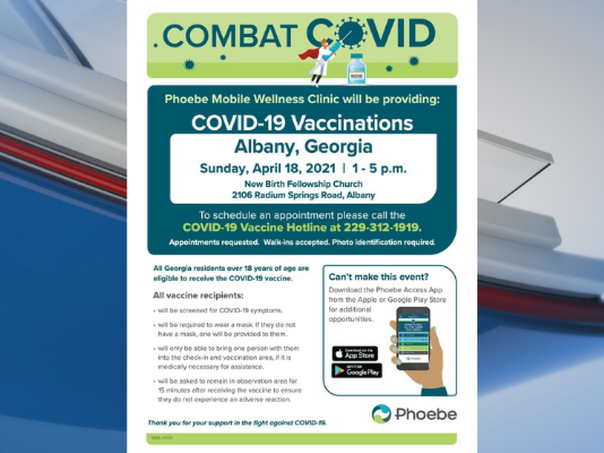 Phoebe to provide COVID-19 vaccine at Mobile Wellness Clinic Sunday