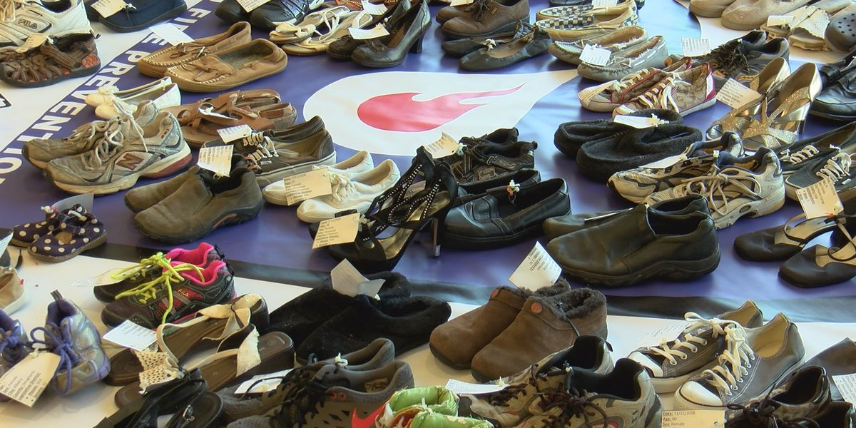 Shoe display honoring those killed in fires traveling across Ga.