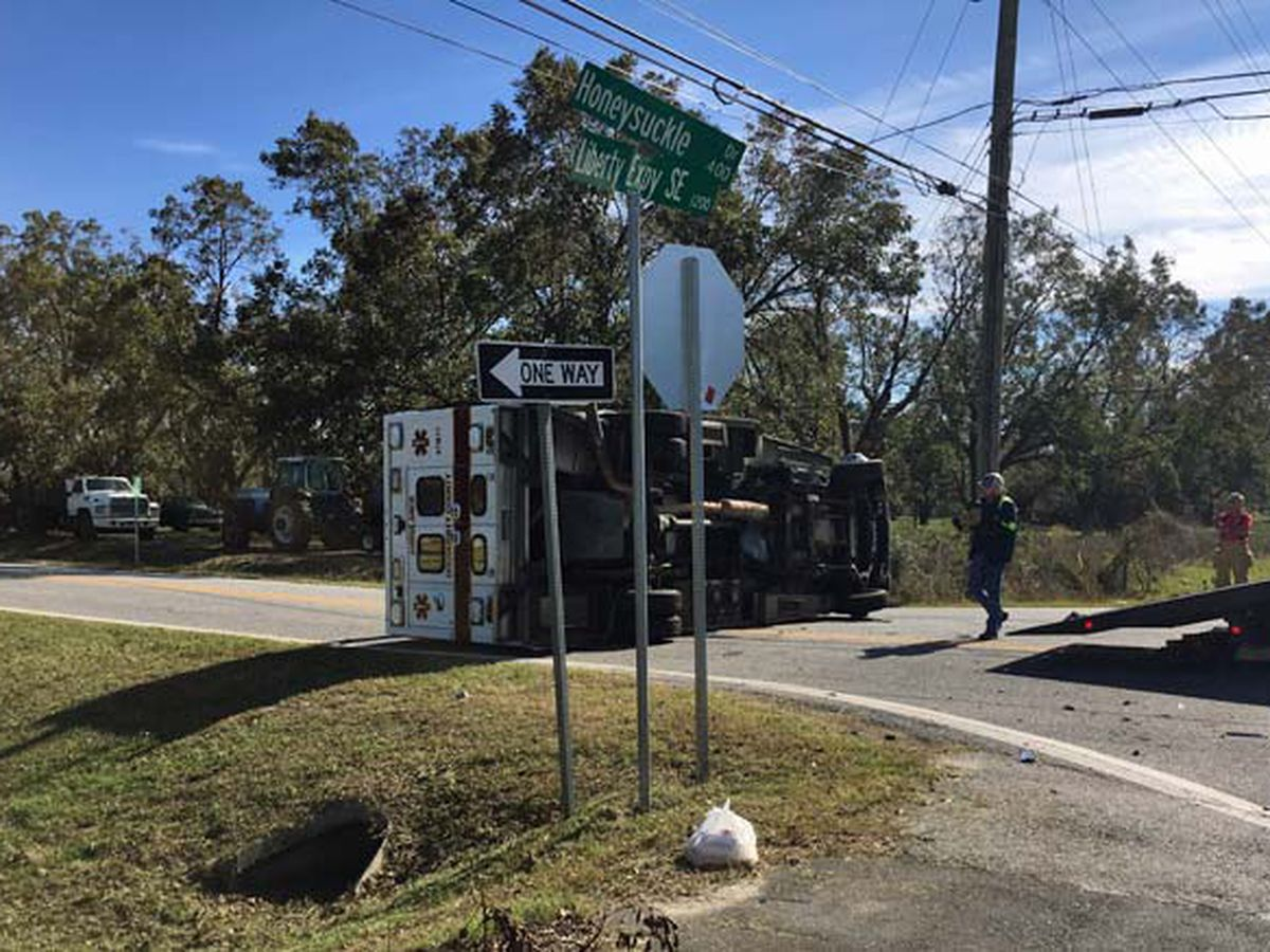 Albany-based ambulance overturns