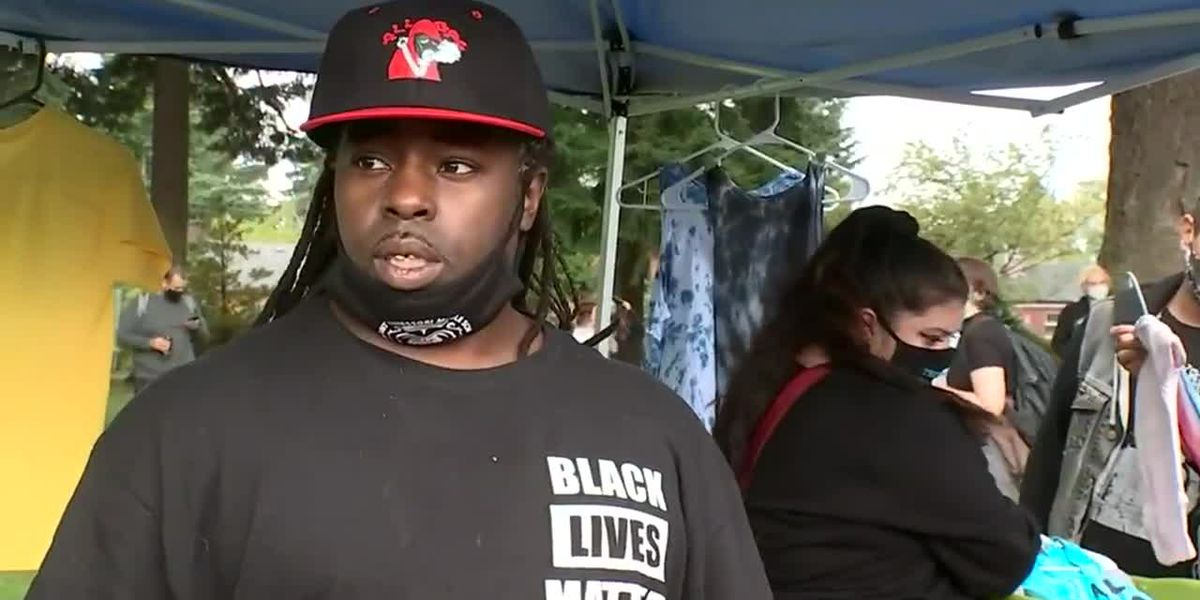 Black Lives Matter group holds counter-protest near right-wing rally in Portland