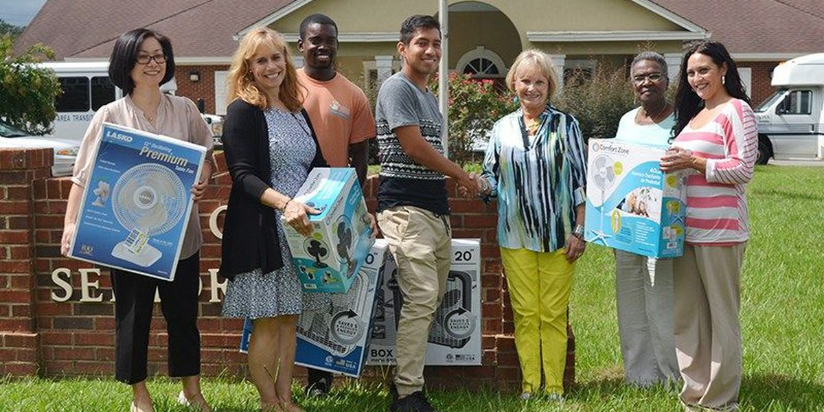Students in Thomasville give fans to senior citizens