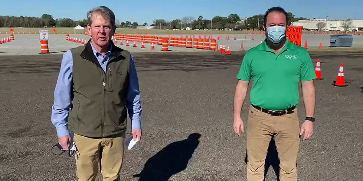 Gov. Kemp visits mass vaccination site in Albany