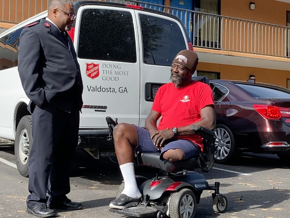 Valdosta's Salvation Army donates motorized wheelchair to homeless veteran